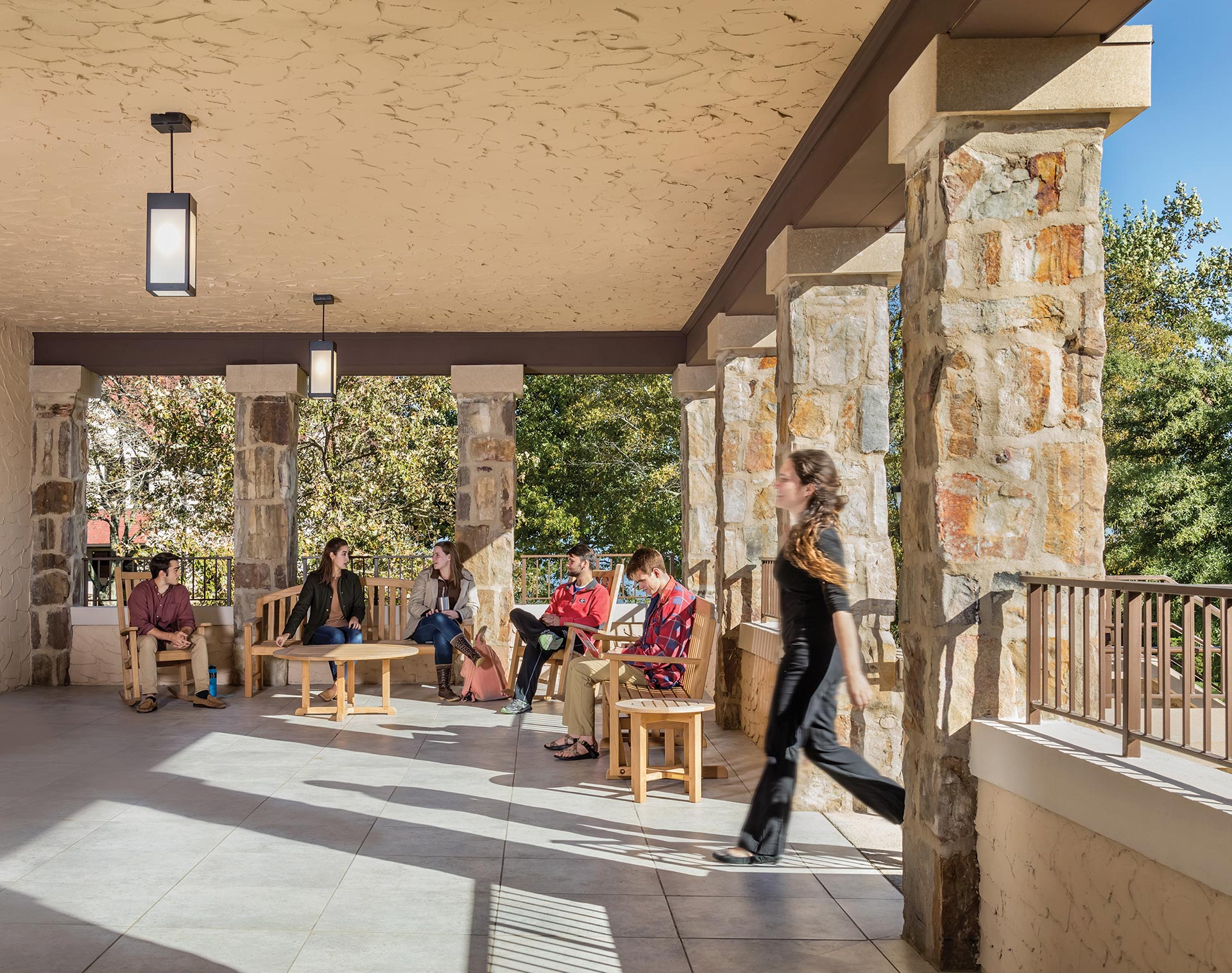 Carter Hall - students enjoying the new north porch