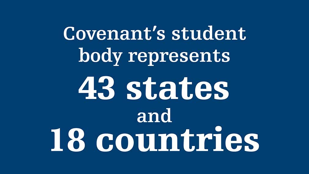 Covenant's student body represents 44 states and 16 countries